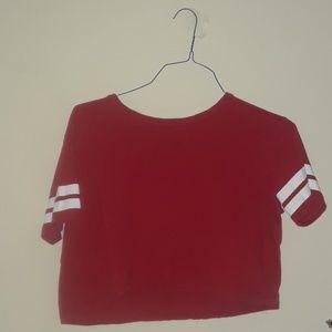 Red mid drift loose shirt